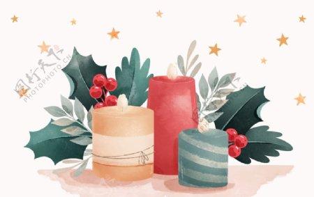 水彩圣诞蜡烛矢量图片