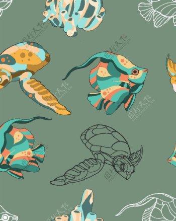 海龟海洋海底世界各种鱼图片