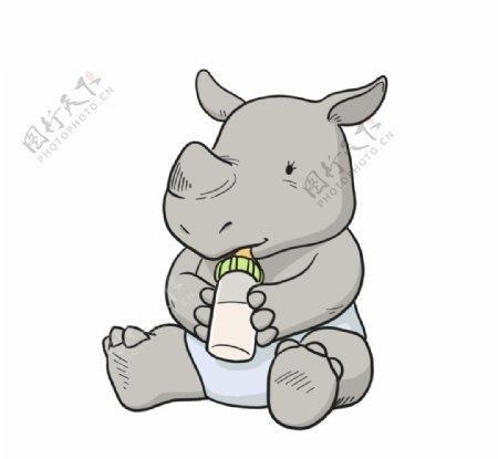 抱着奶瓶很爱的犀牛宝宝图片