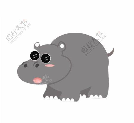 灰色河马插画图片