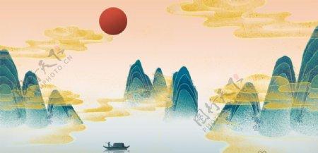 新中式山水画背景图片