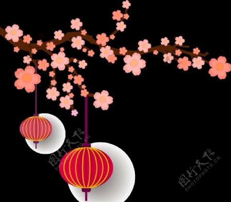 灯笼梅花元素设计图片