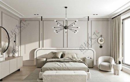 米灰色轻奢卧室图片