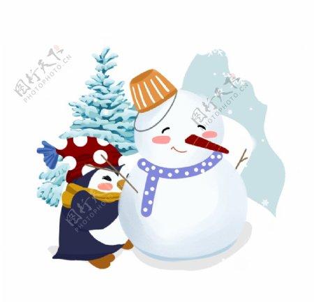 企鹅雪人插画图片