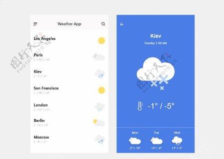 xd天气蓝色UI设计天气页列表图片