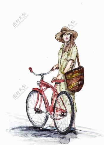 自行车与女孩图片