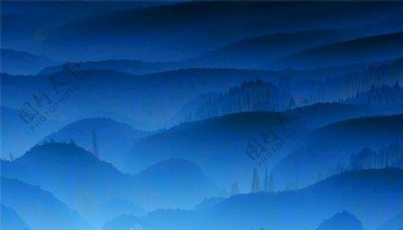 梦幻蓝色水墨山峰图片