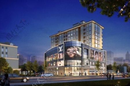 购物广场夜景商业综合体夜景图片