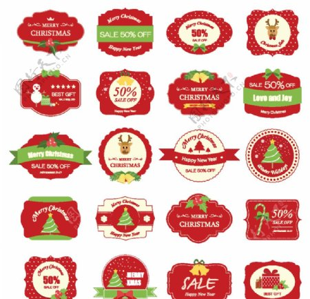 圣诞促销打折标签图片