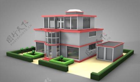 C4D模型小洋楼房子图片