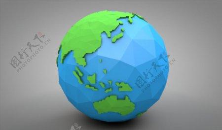 C4D模型像素地球图片