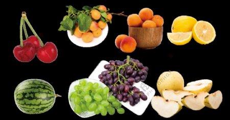 免抠各种水果高清西瓜樱桃杏橘子图片