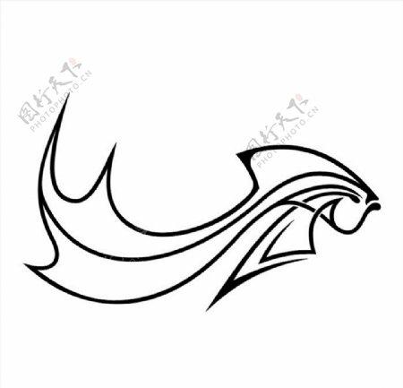 抽象金鱼线条矢量图图片