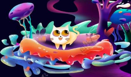 梦幻插画背景图片