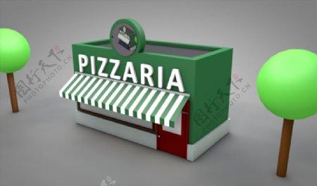C4D模型披萨店快餐店图片