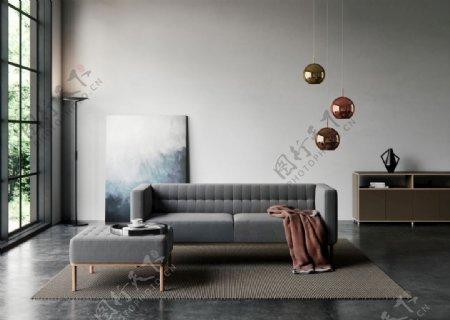 现代北欧客厅灰色沙发图片