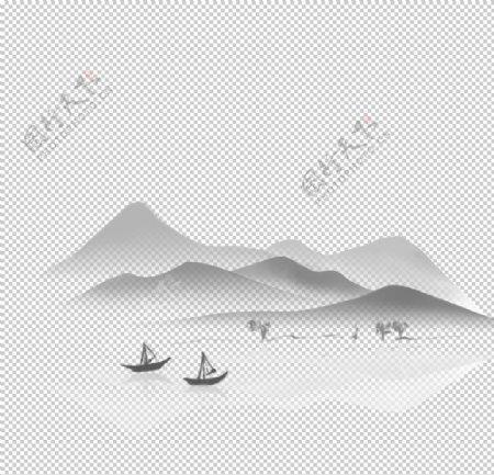 背景素材国潮山水祥云水墨图片