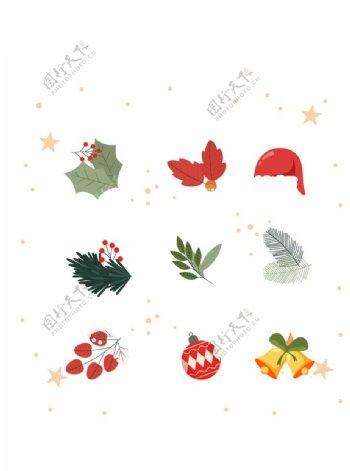 手绘植物卡通圣诞节矢量元素图片