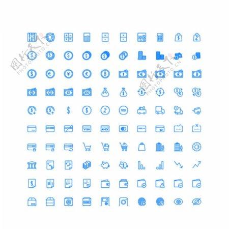 100个金融购物UI图标图片