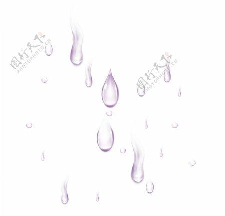 紫色卡通水珠元素图片