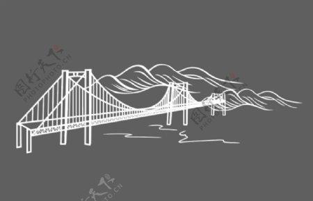 山桥水线稿图片