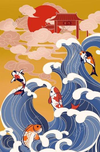 日式插画国风插画图片