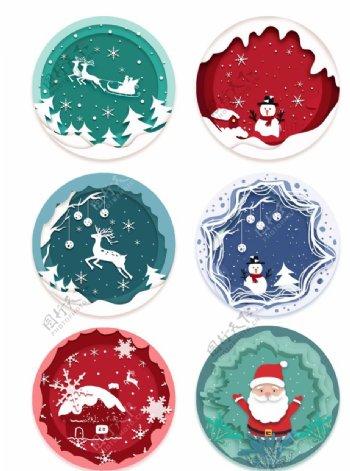 剪纸风圣诞场景元素图片