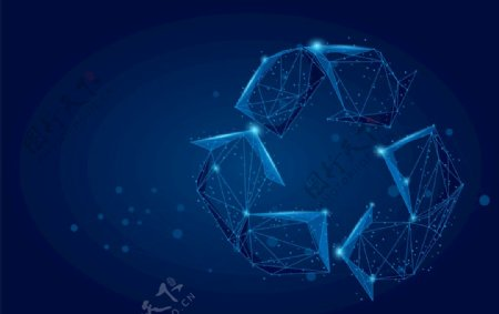 蓝色科技回收标志抽象EPS图片