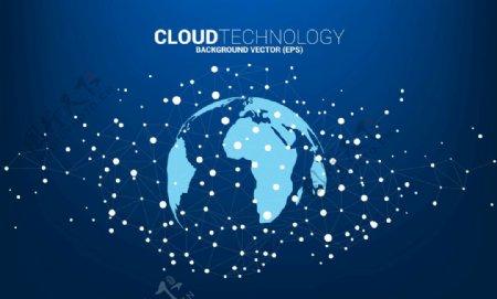 地球科技云计算点线连接EPS图片