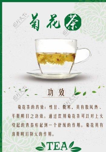 菊花茶茶水单台卡图片