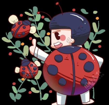 瓢虫女孩插画图片