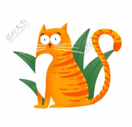卡通橘色猫咪图片