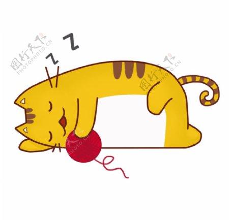 抱着线球睡觉的小猫图片