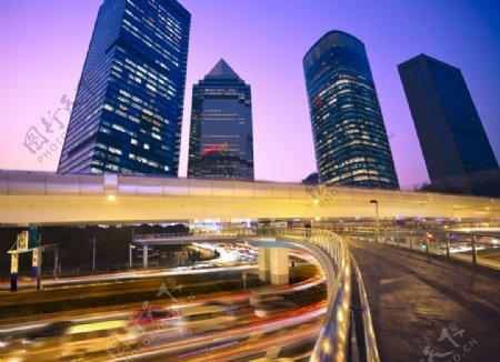 城市夜景高架桥图片