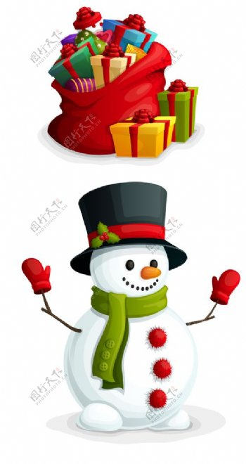 圣诞高清雪人礼盒图片