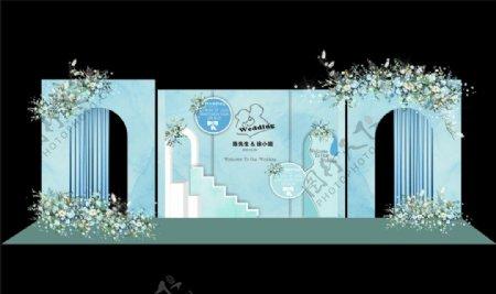 蓝色婚庆背景图片
