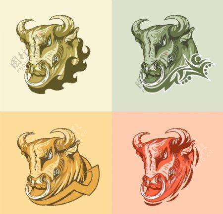 牛头复古插图图片