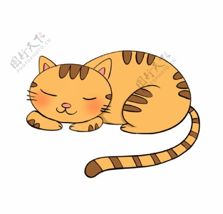 手绘睡觉的猫咪图片