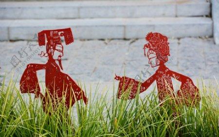 民俗戏曲人物雕塑图片
