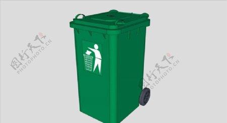 绿色垃圾桶SU模型图片