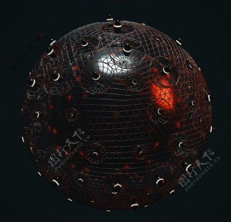 C4D模型金属球体钢珠玻璃图片