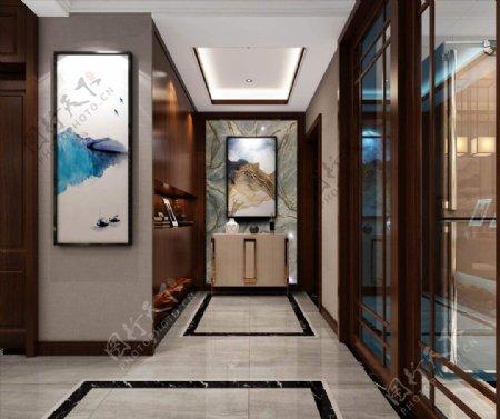 免扣大理石背景效果图玄关客厅图片
