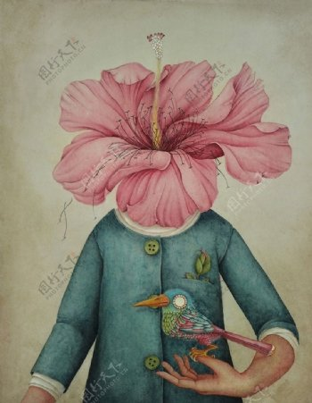 美式复古创意花朵人物装饰画图片