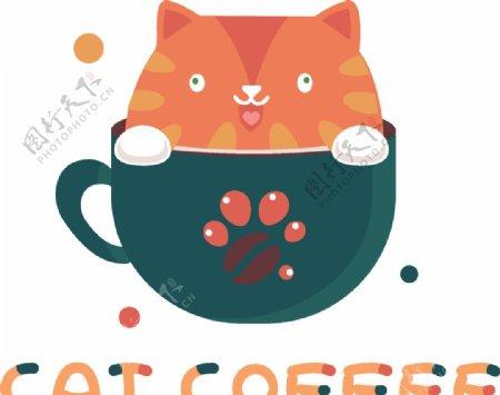 咖啡杯里的小猫图片