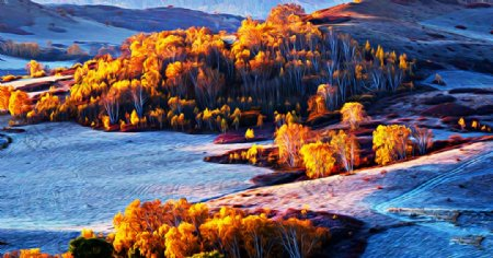 山水风景油画图片