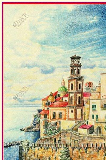 手绘北欧装饰画图片