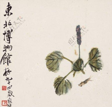 齐白石国画蝼蛄红蓼图图片