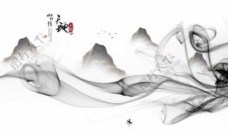 山水画中式背景墙装饰画图片