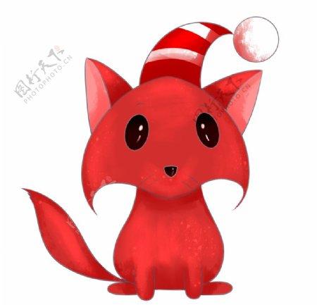 带着毛球帽子的可爱小狐狸图片