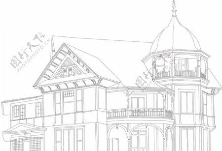 素描别墅素材图片